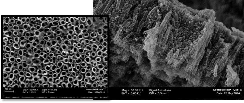 Vue de dessus et dans la tranche de nanotubes de TiO2 réalisés par voie électrochimique